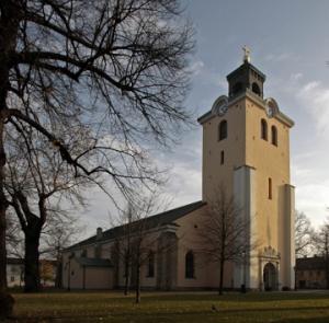 Kristine kyrka i Jönköping (ungefär i den vinkel vi såg kyrkan inifrån klassrummet).