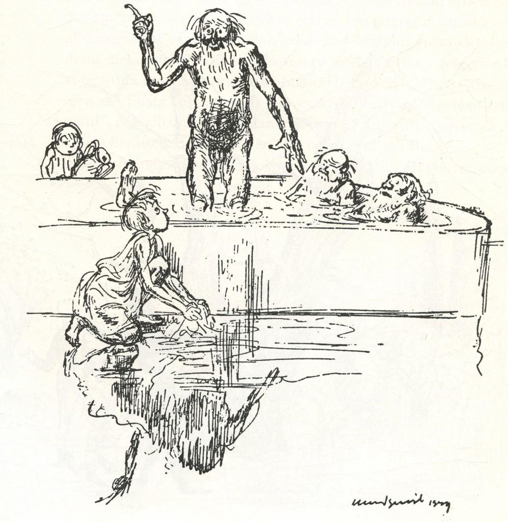 """""""'Heureka' skrek Arkimedes på grekiska."""" Ur """"Vägen genom A"""" av Alf Henrikson, Raben & Sjögren 1949."""
